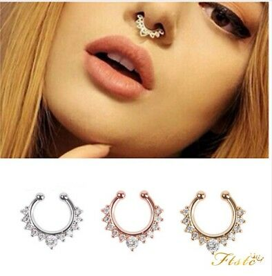 Wholesale Fake Septum Rhinestone Ring Hoop Nose Ring Non Piercing Body Jewelry