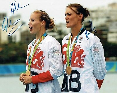 Helen GLOVER & Heather STANNING Signed Photo Autograph AFTAL COA Rowing Team GB