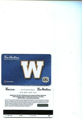 Tim Horton Gift Cards - 2018 Winnipeg Blue Bombers card - FD61806
