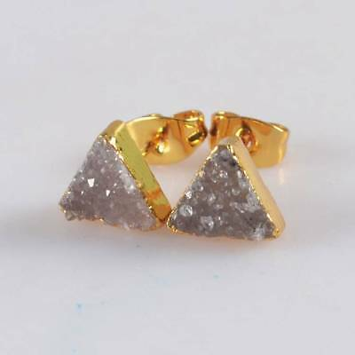 8mm Triangle Natural Agate Druzy Geode Stud Earrings Gold Plated H120649
