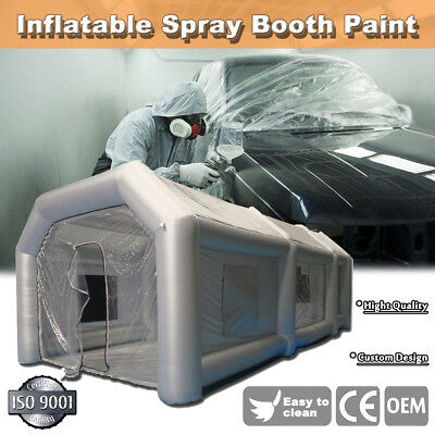26x13x10Ft Inflatable Spray Paint Booth Custom Tent Car + Filtration System Grey