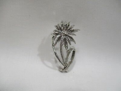 Antiguo Broche Edelweiss Joya de Plata Maciza Broche Jewel Pin