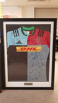 Harlequins Rugby Framed Signed Shirt Official 2015/16 Squad