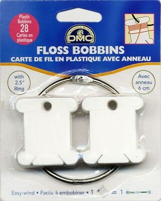 28x DMC PLASTIC BOBBINS & 2½in / 6cm RING (6105) - Cross Stitch / Embroidery