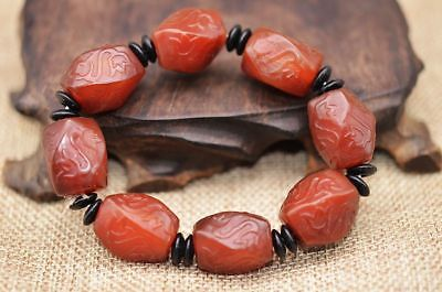Fine Quality! Tibet Red Agate Engraving Lotus Beads Knitted Bracelet