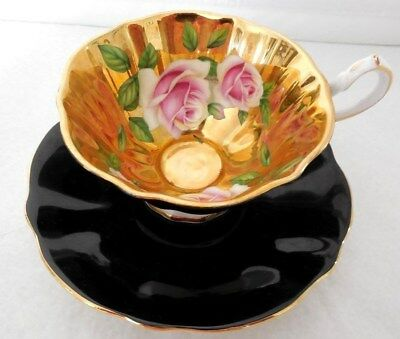Queen Anne Gold Roses Black outside Cup and Saucer Bone China England