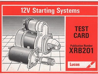 Lucas Test Card 12V Starting Systems