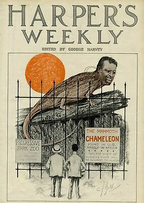 Theodore Roosevelt As A Chameleon Atop His Big Stick Caged Progressive Park Zoo