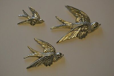 3-Vintage Hong Kong Silver-tone Syroco Indoor-Outdoor Birds In Flight Wall Decor