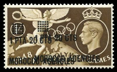 Morocco Agencies 1948 KGVI Olympic Games 1p20c on 1s SURCHARGE DOUBLE. SG 181a.