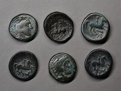 Excellent Lot Of 6 Ancient Greek Bronze Coins, Alexander The Great - Philip Iii.