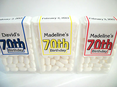 28 ~ 70th BIRTHDAY PARTY FAVORS TIC TAC LABELS ~ PERSONALIZED