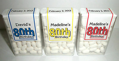 28 ~ 80th BIRTHDAY PARTY FAVORS TIC TAC LABELS ~ PERSONALIZED