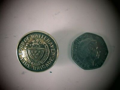 Fire Brigade Button 1900s of the BOROUGH oF WHITEHAVEN 2 piece brass