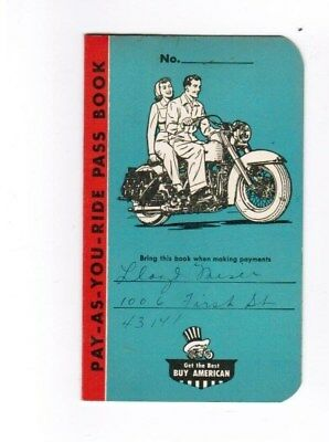 Old 1956 Old Harley Davidson Biker Motorcycle Club Plan Payment Booklet