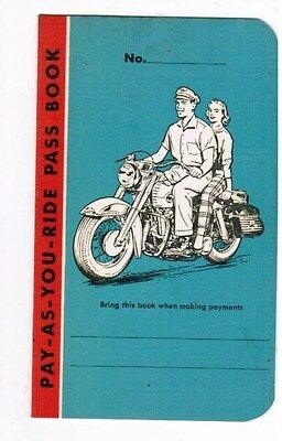Original Old Harley Davidson Biker Motorcycle Unused Club Plan Payment Booklet