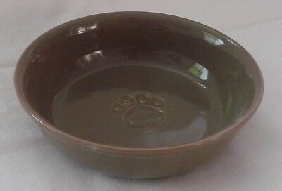 Medium 15.3cm BROWN CERAMIC CAT DISH - Water/Food NEW Kitten Pet Animal Dog Bowl