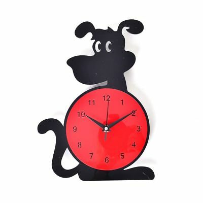Black, Red Colour Dog Design Wall Clock