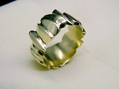 Vintage Different Style14K Gold 12mm Wide Wedding Band 14gr Ring Size 11