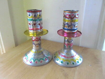 Pair Of Punched Tin  Painted Candle Holders Candlesticks Mexico