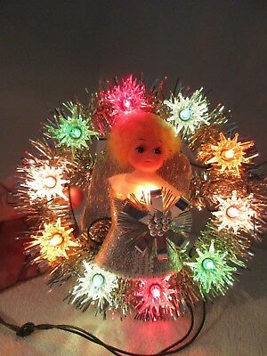 vintage lighted angel christmas tree topperplaque holiday decorations