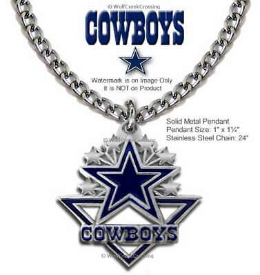 """Dallas Cowboys Necklace 24"""" Stainless Steel Chain - Nfl Football Free Ship  #Ca'"""