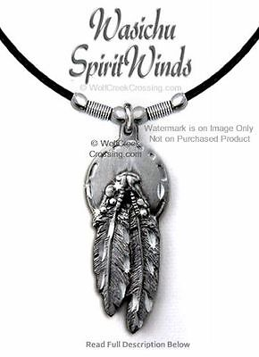 "Gypsy Winds Concho Beads Eagle Feather Necklace - Diamond Cut  24"" Leather Gift*"