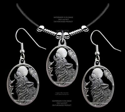 MOON SONG WOLF NECKLACE STAINLESS STEEL CHAIN WOLVES EAGLE FEATHER FREE SHIP/'