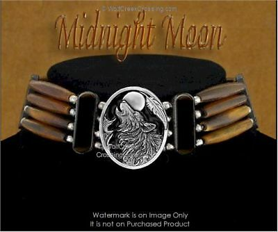 Midnight Moon Wolf Bone Choker Necklace Wolves Indian Style Art - Free Ship  #E'