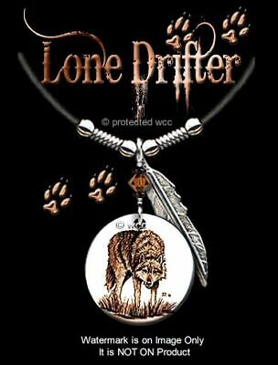 """Lone Drifter Wolf Necklace - 24"""" Leather - Western Art Spirit Wolves Free Ship*"""