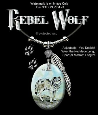 """Rebel Wolf Necklace For Male Or Female - Wild Wolves Western Art 24"""" Free Ship*"""