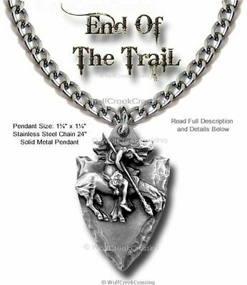 "Arrowhead End Of Trail Necklace Pendant - 24"" Heavy Chain - Free Shipping  #lrg*"