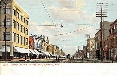 LP62 Appleton  Wisconsin Vintage Postcard College Ave View