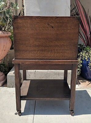 Antique GLOBE WERNICKE FILE CABINET Arts & Craft Mission Oak Wood Rolling