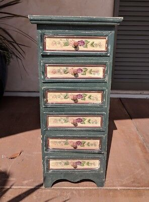Vintage SHABBY CHIC CABINET Hand-Painted Green Floral All-Wood