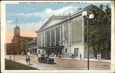 Johnson City TN Goodwill Theatre & Fire Station c1920 Postcard #2