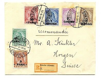 Albania Registered Cover Commercial Mail>Switzerland 1914 with complete set