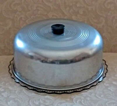 Vintage Aluminum Metal Dome Cake Saver/Cover & Depression Glass Footed Plate