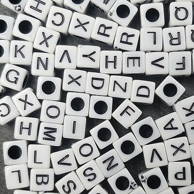 Spacer Jewelry Mixed letters beads 7mm loose A~Z findings 100PCS acrylic 26