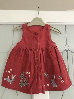 Baby Girls M&S Coral Bunny Rabbit Design Cord Pinafore Dress Age 0-3 Months Vgc