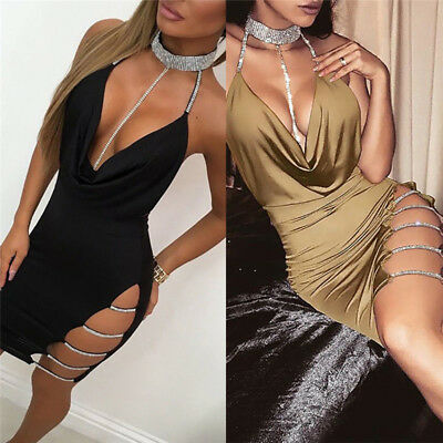 Women Bandage Bodycon Sleeveless Evening Party Cocktail Club Short Mini Dress S&