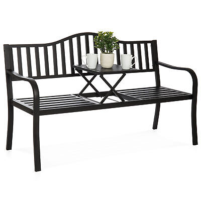 BCP Cast Iron Garden Bench - Black