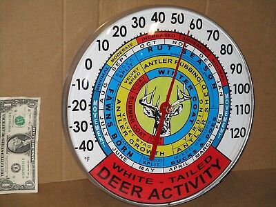 WHITED TAILED DEER ACTIVITY Big Round Thermometer -Metal Body LISTS ALOT OF INFO