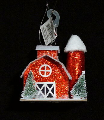 Christmas Barn Ornament With Bottle Brush Trees - NWT