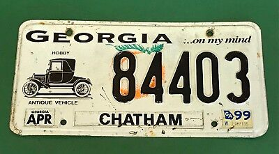 State of Georgia GA Historic Hobby Antique Vehicle License Plate Chatham 84403