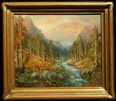 LISTED Charles Henry Harmon Old Impressionist Mountain Stream Oil Painting NR