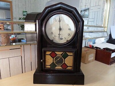"""Very Nice Old Antique Ansonia? Bracket Clock. Runs Fine And Chime Works 16.5"""" Hi"""