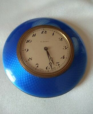 Antique Vintage Silver Blue Enamel 8 Day jours Travel Clock Swiss Made