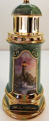 Thomas Kinkade Collectors Rock of Salvation Porcelain Lighthouse Lighted In Box