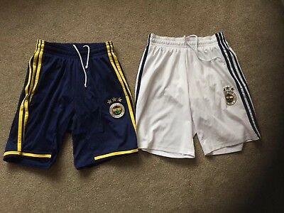 2 Pairs of Fenerbahce Adidas Football Shorts * Size Small Adults